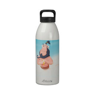 Funny floating genie in the sky. drinking bottles