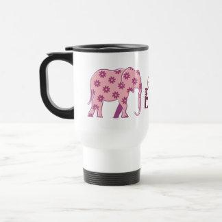 Funny Floral Cartoon Elephant Elegant Pink Chic Travel Mug