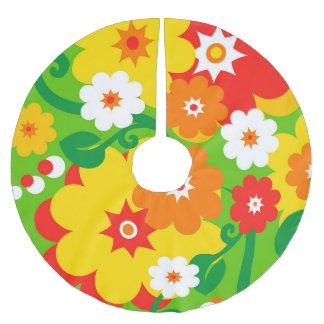 Funny Flower Power Wallpaper Brushed Polyester Tree Skirt