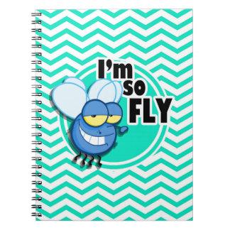 Funny Fly Aqua Green Chevron Notebook