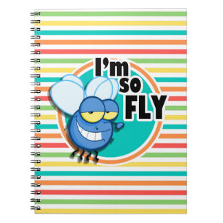 Funny Fly Bright Rainbow Stripes Spiral Notebooks