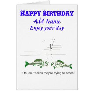 Funny Fly Fishing Birthday Card