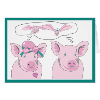Funny Flying Pig Couple Hog Heaven Greeting Card