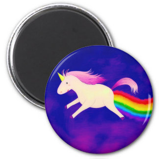 Funny Flying Unicorn Farting a Rainbow 6 Cm Round Magnet