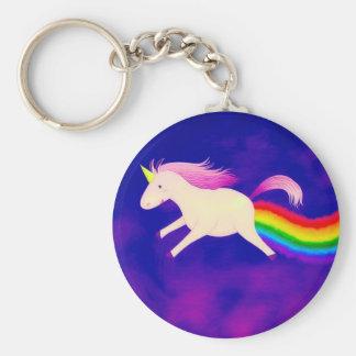 Funny Flying Unicorn Farting a Rainbow Basic Round Button Key Ring