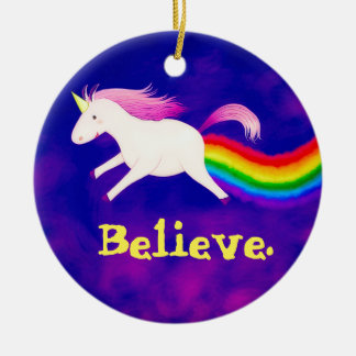 Funny Flying Unicorn Farting a Rainbow Round Ceramic Decoration