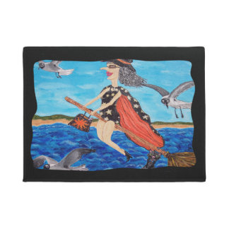 Funny Flying Witch Broom Cat Seagulls Beach Doormat