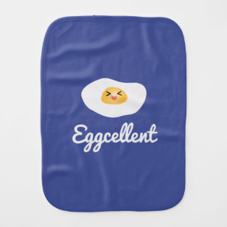 Funny Food Pun Cute Egg Eggcellent Humorous Unisex Burp Cloth