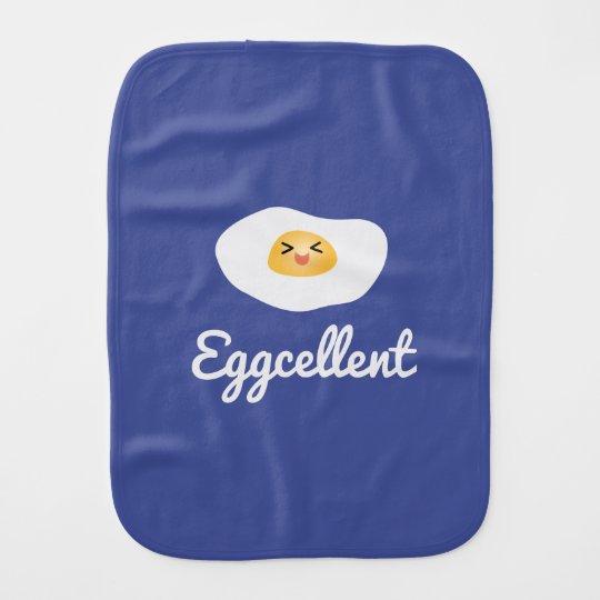 Funny Food Pun Cute Egg Eggcellent Humourous Burp Cloth