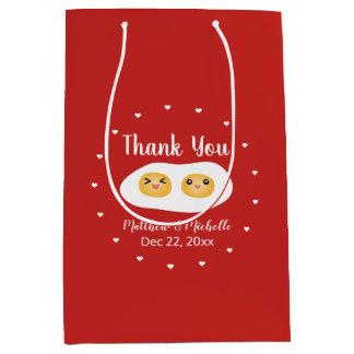 Funny Foodie Bride Groom Cute Wedding Thank You Medium Gift Bag