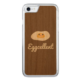 Funny Foodie Cute Egg Eggcellent Humorous Food Pun Carved iPhone 8/7 Case