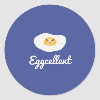 Funny Foodie Cute Egg Eggcellent Humorous Food Pun Classic Round Sticker