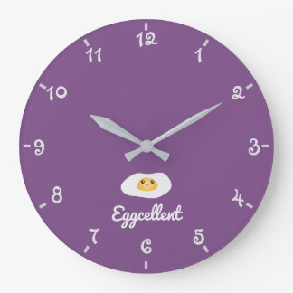 Funny Foodie Cute Egg Eggcellent Humorous Food Pun Large Clock