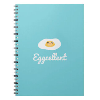 Funny Foodie Cute Egg Eggcellent Humorous Food Pun Notebook