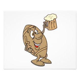 funny football cartoon holding a beer mug flyer