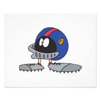 funny football helmet cartoon character flyer