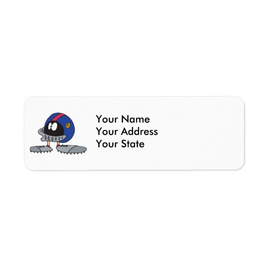 funny football helmet cartoon character return address label