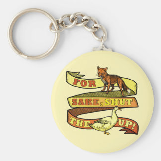 Funny Fox Duck Animal Pun Basic Round Button Key Ring