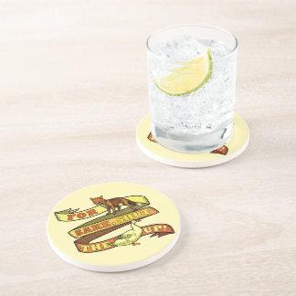 Funny Fox Duck Animal Pun Drink Coasters