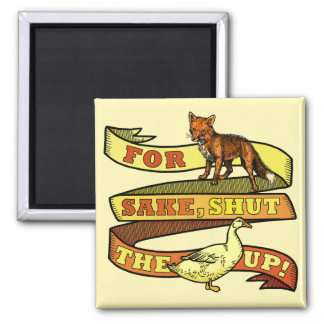 Funny Fox Duck Animal Pun Square Magnet
