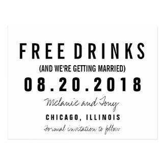Funny Free Drinks Wedding Save the Dates Custom Postcard