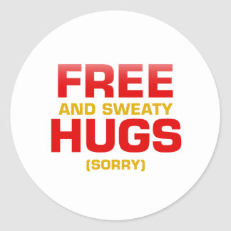 Funny FREE HUGS with hidden message Round Sticker