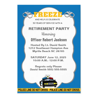 Funny Freeze Police Officer Retirement Invitation
