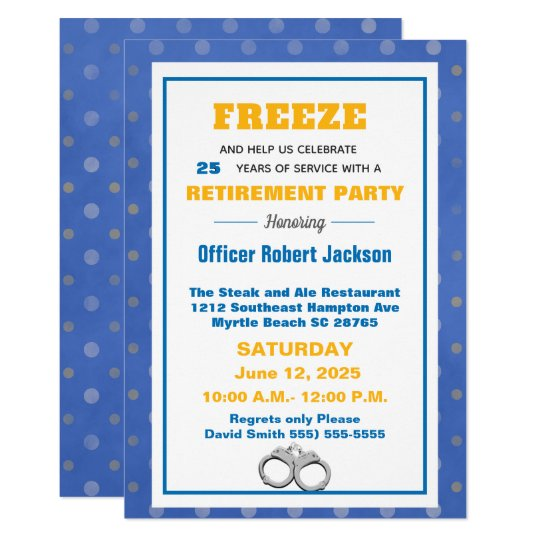 Funny Freeze Police Officer Retirement Party Invitation