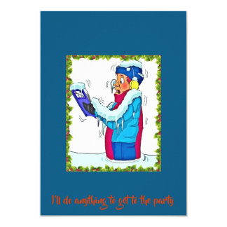 Funny Freezing Man In Snow Party Invitation Blue