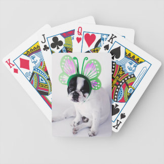 Funny French Bull Dog Black and White Butterfly Bicycle Playing Cards