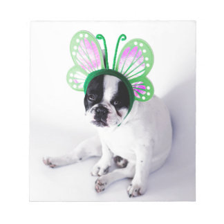 Funny French Bull Dog Black and White Butterfly Notepad