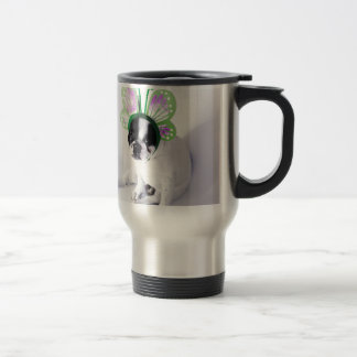 Funny French Bull Dog Black and White Butterfly Travel Mug
