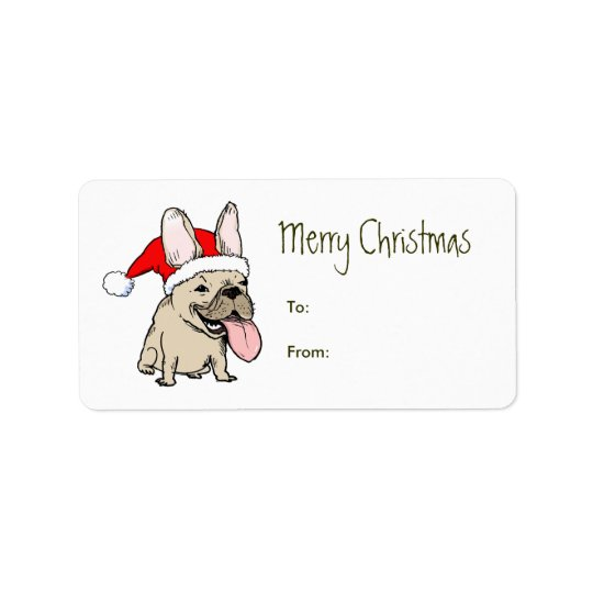 Funny French Bulldog Santa Clause Christmas Address Label