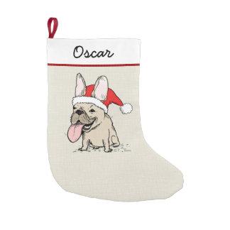 Funny French Bulldog Santa with Custom Text Small Christmas Stocking