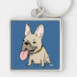 Funny French Bulldog with Huge Tongue Sticking Out Key Chains