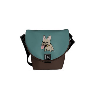 Funny French Bulldog with Huge Tongue Sticking Out Messenger Bags