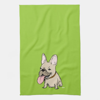 Funny French Bulldog with Huge Tongue Sticking Out Towel