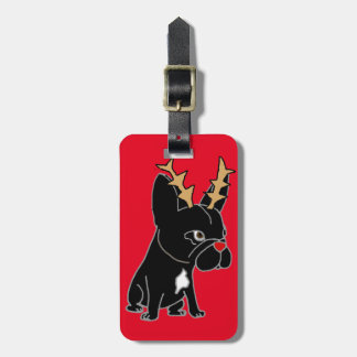 Funny French Bulldog with Reindeer Antlers Luggage Tag