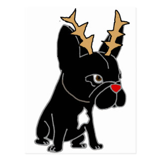 Funny French Bulldog with Reindeer Antlers Postcard