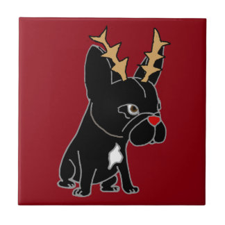 Funny French Bulldog with Reindeer Antlers Tile