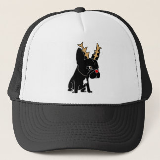 Funny French Bulldog with Reindeer Antlers Trucker Hat