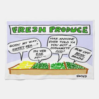 Funny Fresh Produce Cartoon Kitchen Towel