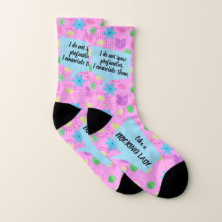 "Funny ""Fricking Lady"" Happy Pink Floral Socks"
