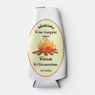 Funny Friend Marshmallow Camping Quote Bottle Cooler