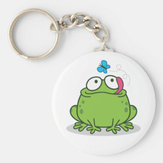 Funny Frog and Butterfly Design Key Ring