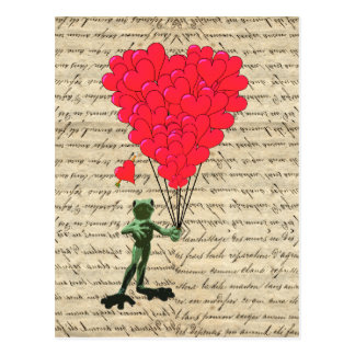 Funny frog and heart balloons postcard