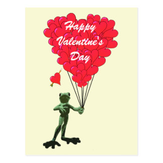 Funny frog and heart Valentines Postcard