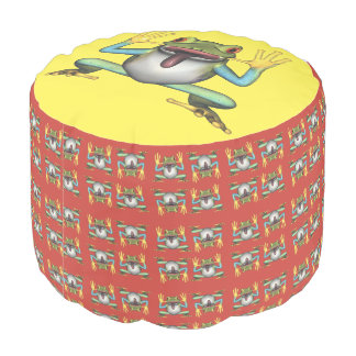 Funny Frog making a face Pouf Round Pouffe
