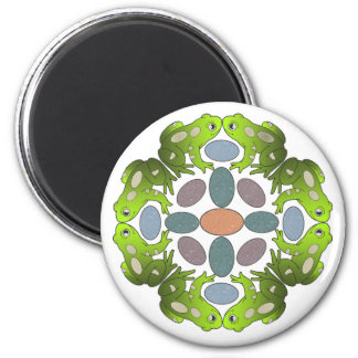 Funny Frog Mandala 6 Cm Round Magnet