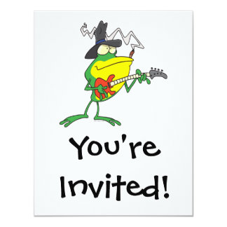funny frog playing bass guitar froggy cartoon card